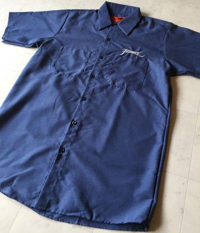 画像1: FRAGILESKATE -刺繍LOGO- ワークシャツ color:[postman blue] size:[M]