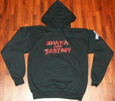 画像1: ROYAL HAWAIIAN POOL SERVICE -SHAKA AND DESTROY- hood sweat black [M]