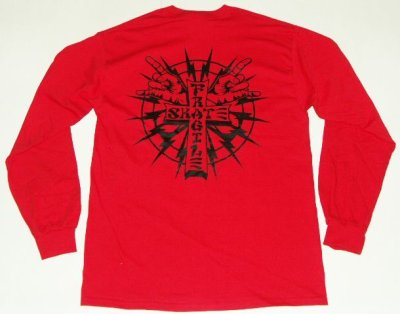 画像1: FRAGILESKATE -CROSS LOGO- ロングスリーブTee color:[red/black] size:[M]