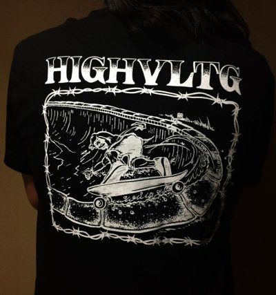 画像1: HIGH VOLTAGE -SLASH BACK- art by Bart Saric (Skater Made) S/S tee color:[black] size:[M]